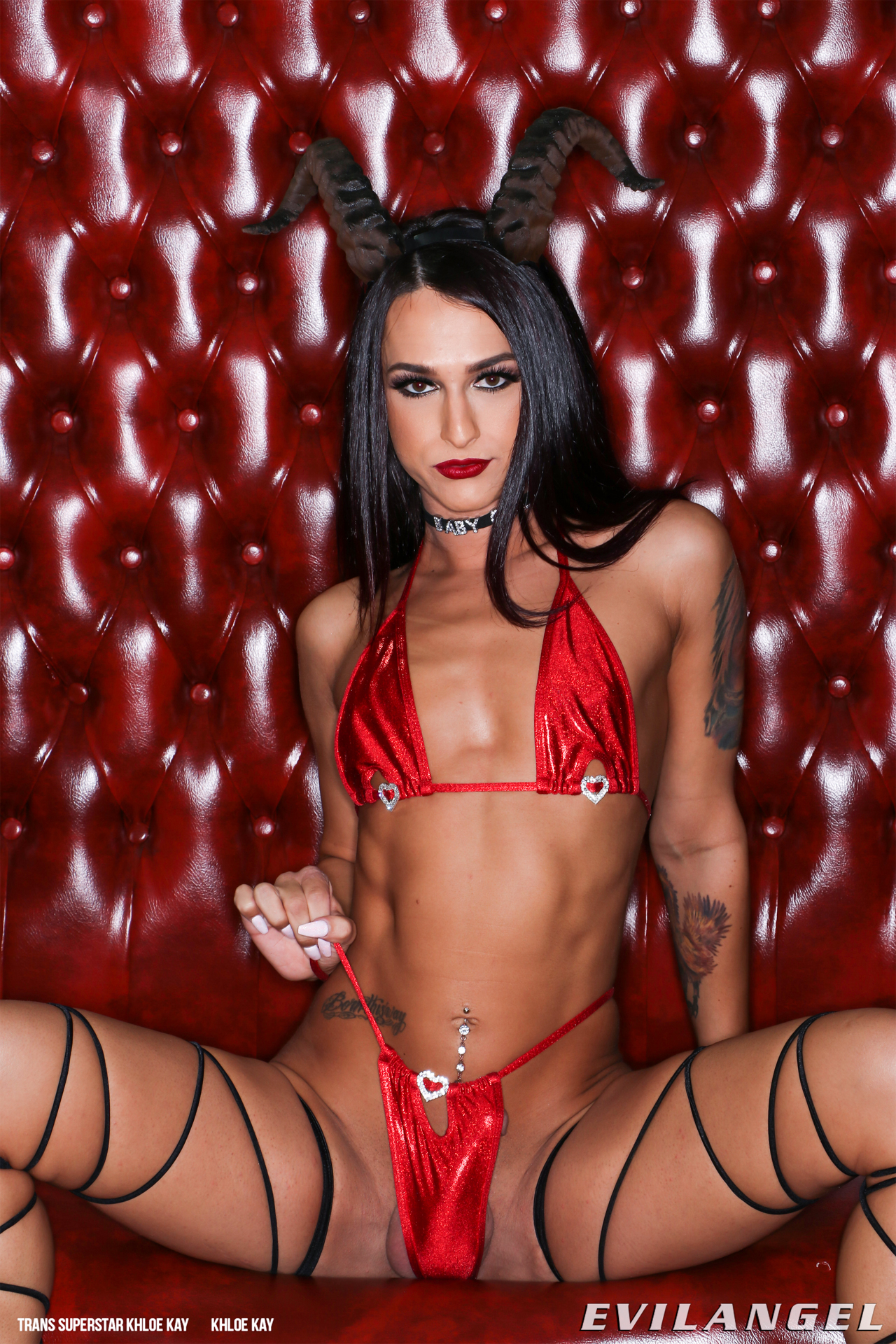 Hot Naughty TS Khloe Kay Spreads her Legs in a Skimpy Devil Outfit (1/15)