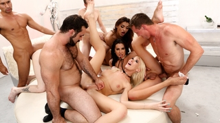 Four Tranny Hotties Gangbanged By Hunks