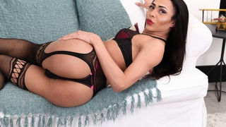 Louyse Hills In Sexy Lingerie On Sofa