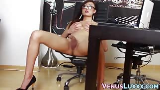 Asian TS Playfully Launches Cum After Jerking Off Solo