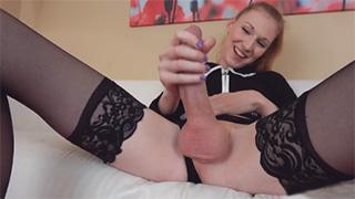 Amazing Tgirl in Black Stockings Jerking her Big Cock