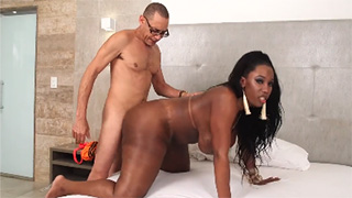 BBW Ebony Shemale Jackeline Boing Gets Pumped by Big White Dick