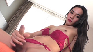 Petite Teen Ladyboy Stroking her Hard Dick and Having Orgasm