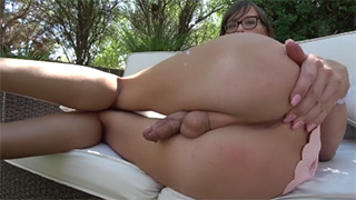 Cute Tranny with Glasses Shows Her Amazing Round Ass and Hard Dick