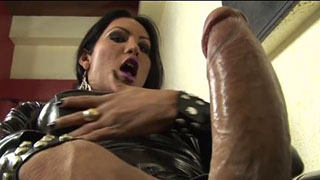 Stunning Latina Jerking Her Cock In Latex Catsuit