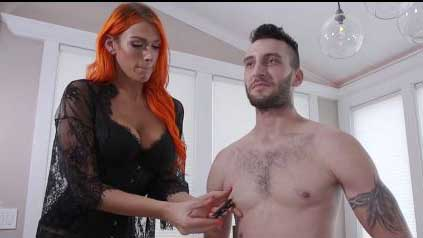 Busty Redhead Tranny Using Nipple Clamps And Fucks Man