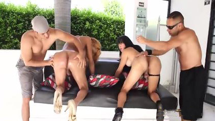 Two Horny Oiled Tgirls Engaged In Group Fuck